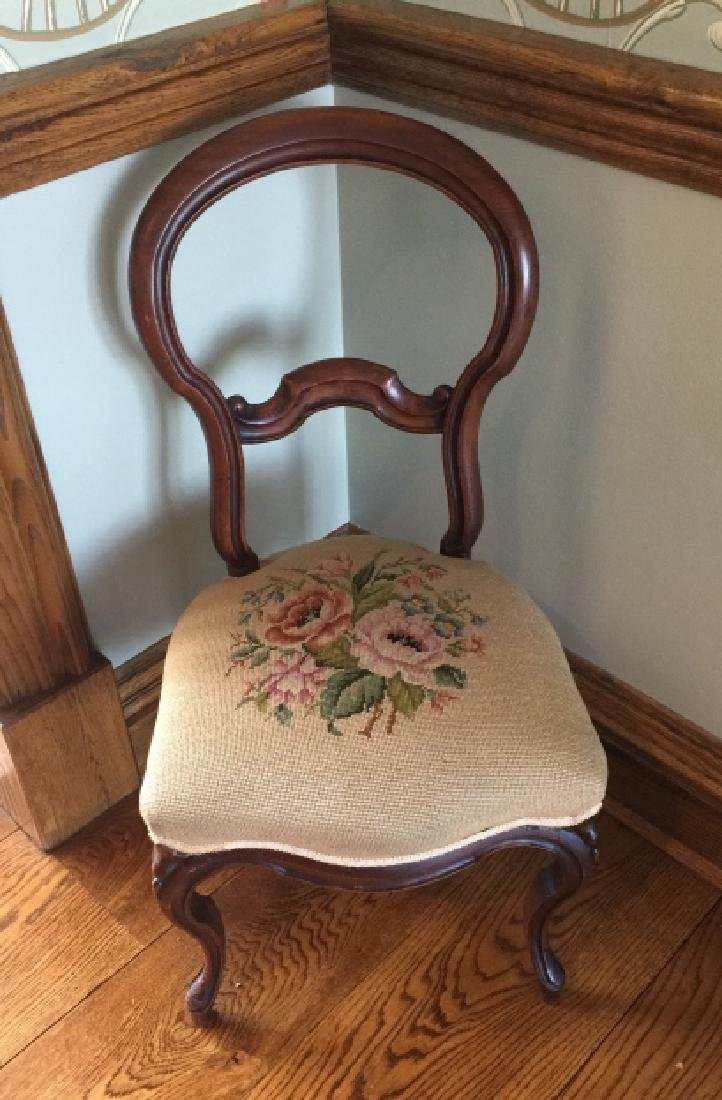 Antique 19th C Victorian Needlepoint Chair