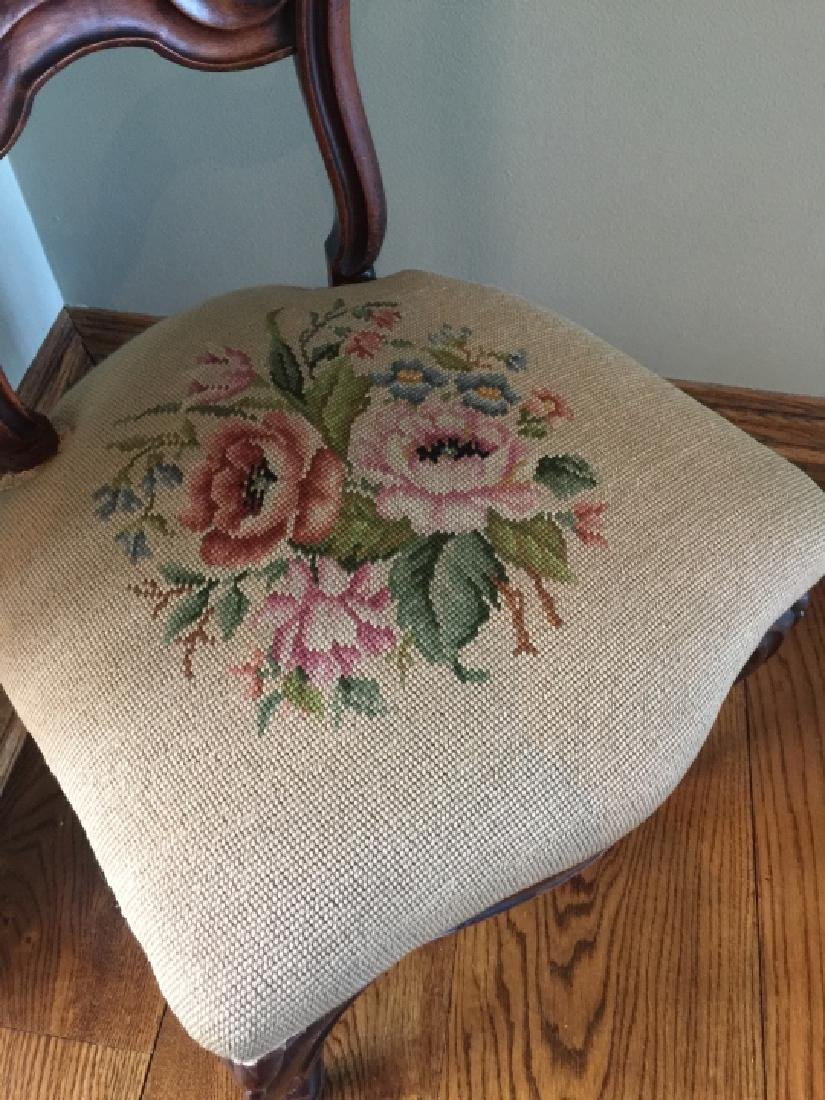 Antique 19th C Victorian Needlepoint Chair - 2