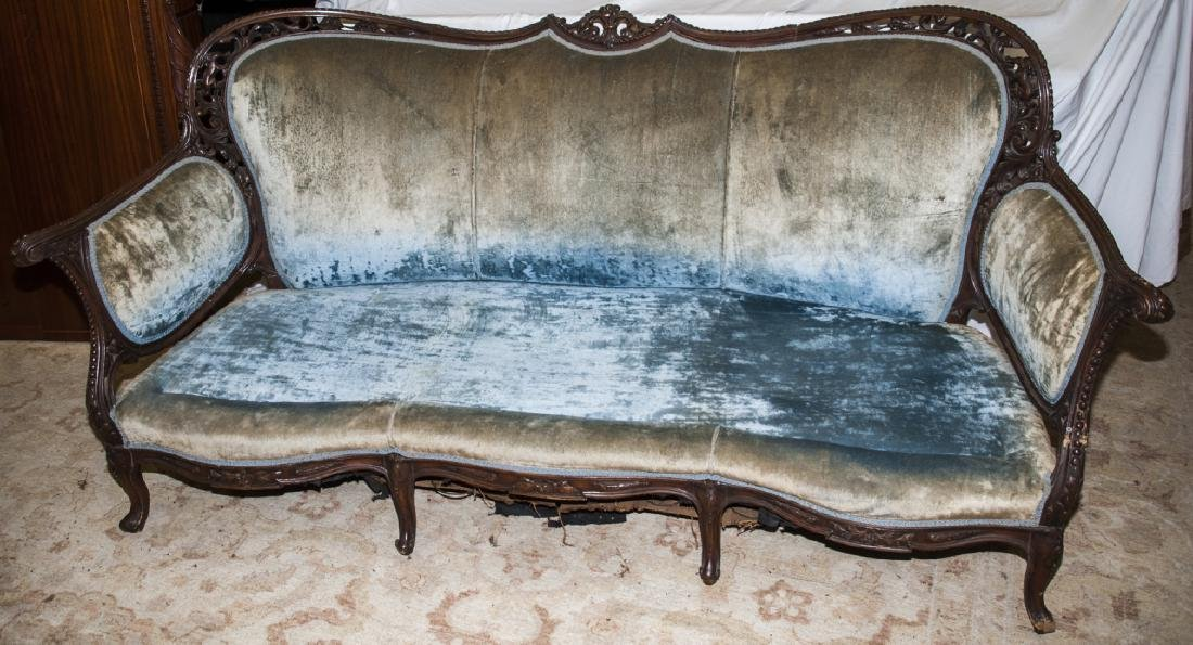 Antique Mahogany Tone Sofa W/ Green Upholstery