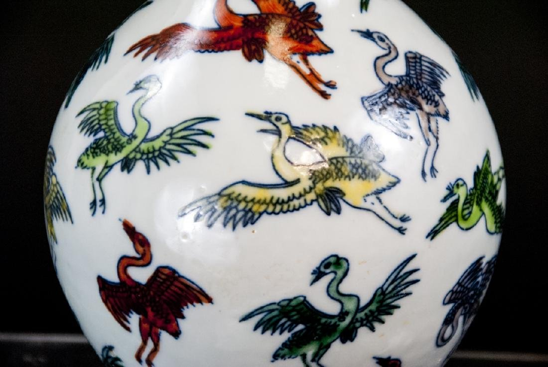 Chinese Hand Painted Porcelain Vase w Cranes - 2