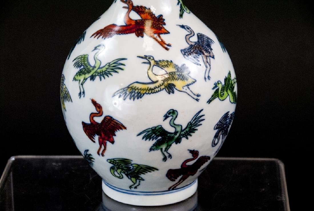 Chinese Hand Painted Porcelain Vase w Cranes - 5