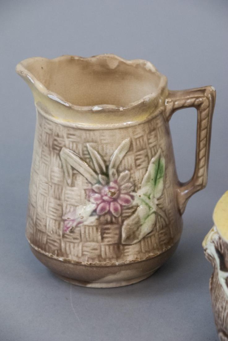 Assorted Majolica Teapot, Creamer & Sugar Dish - 4