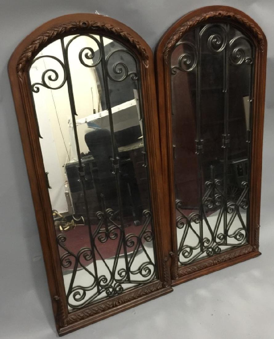 Pair of Tall Wood & Wrought Iron Arched Mirrors