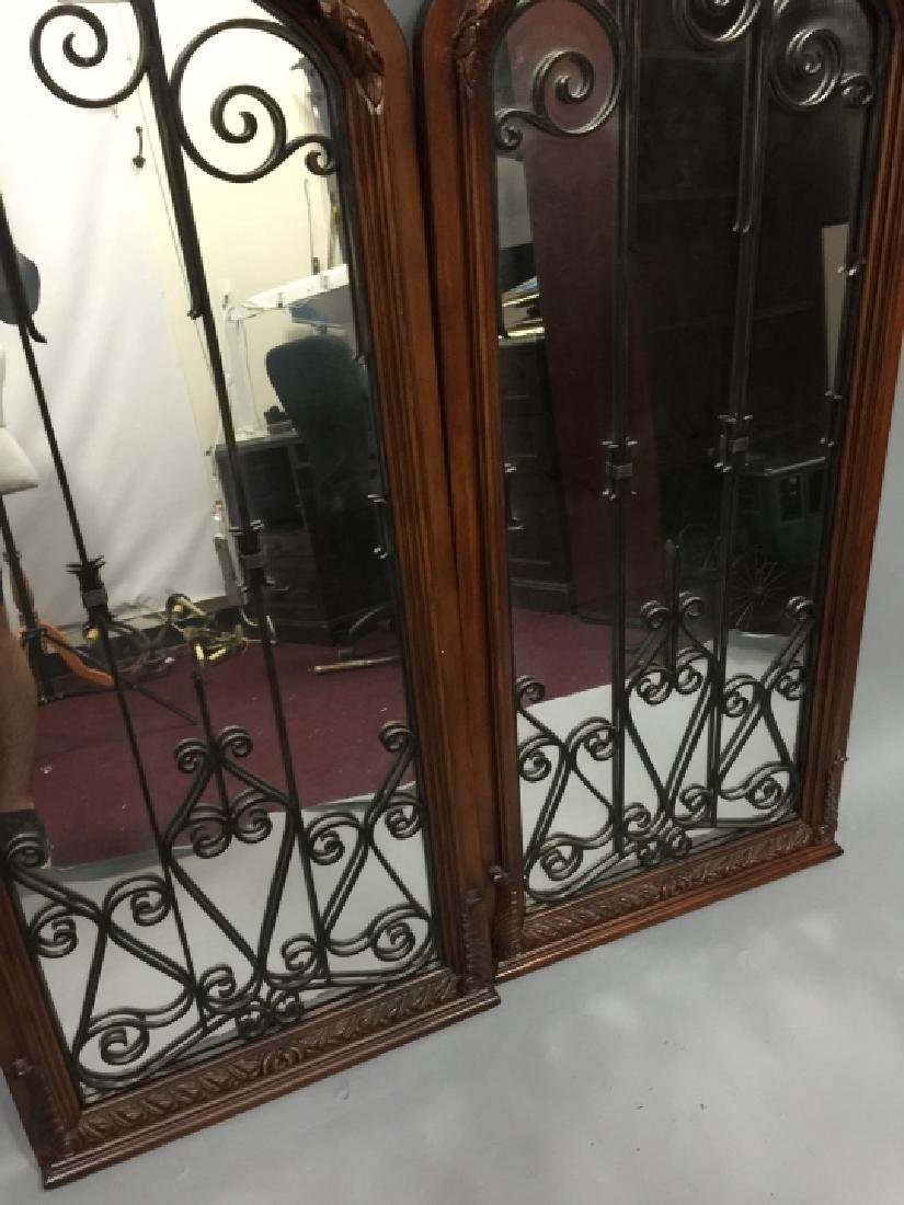 Pair of Tall Wood & Wrought Iron Arched Mirrors - 2