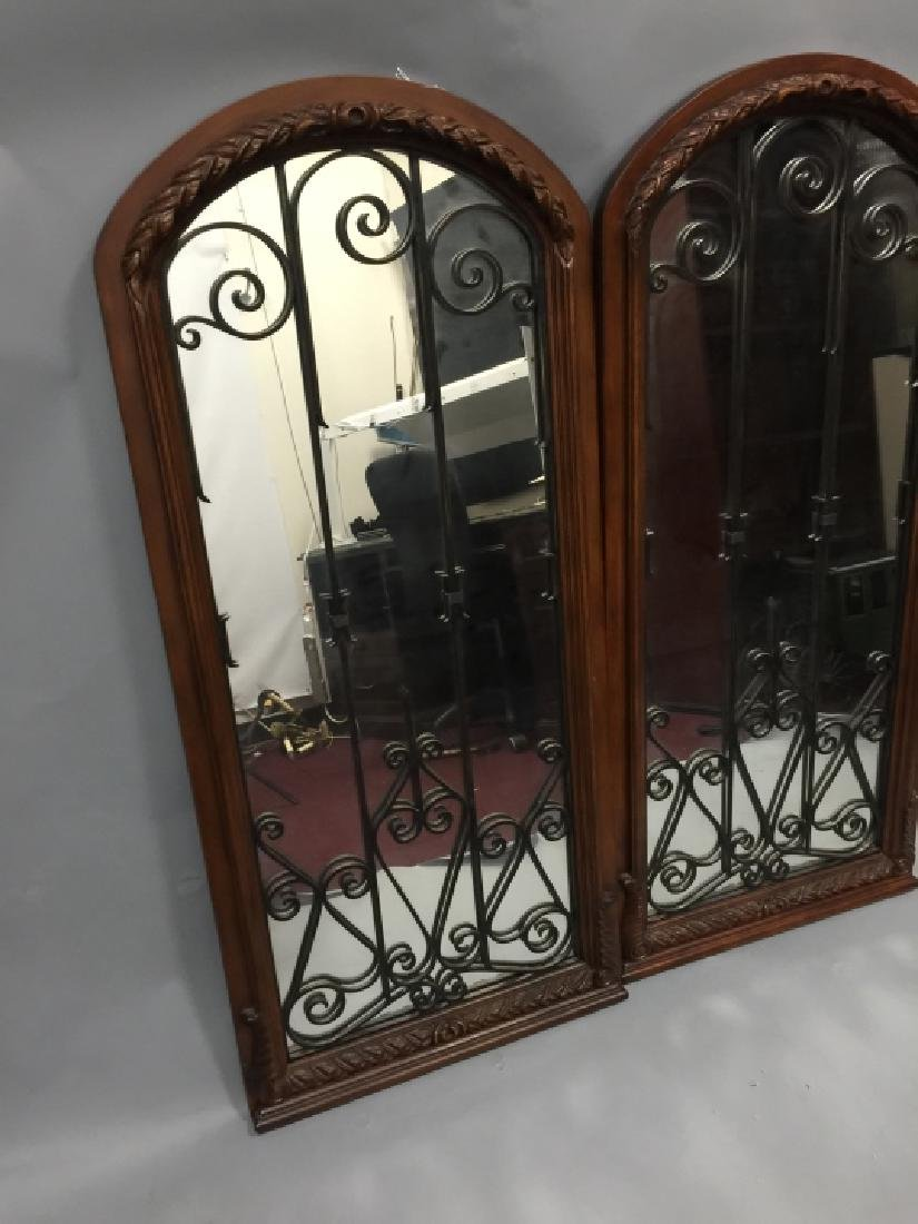 Pair of Tall Wood & Wrought Iron Arched Mirrors - 3