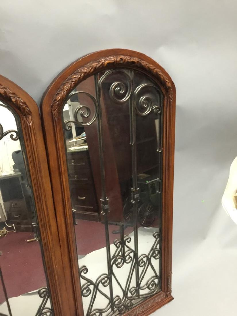 Pair of Tall Wood & Wrought Iron Arched Mirrors - 4