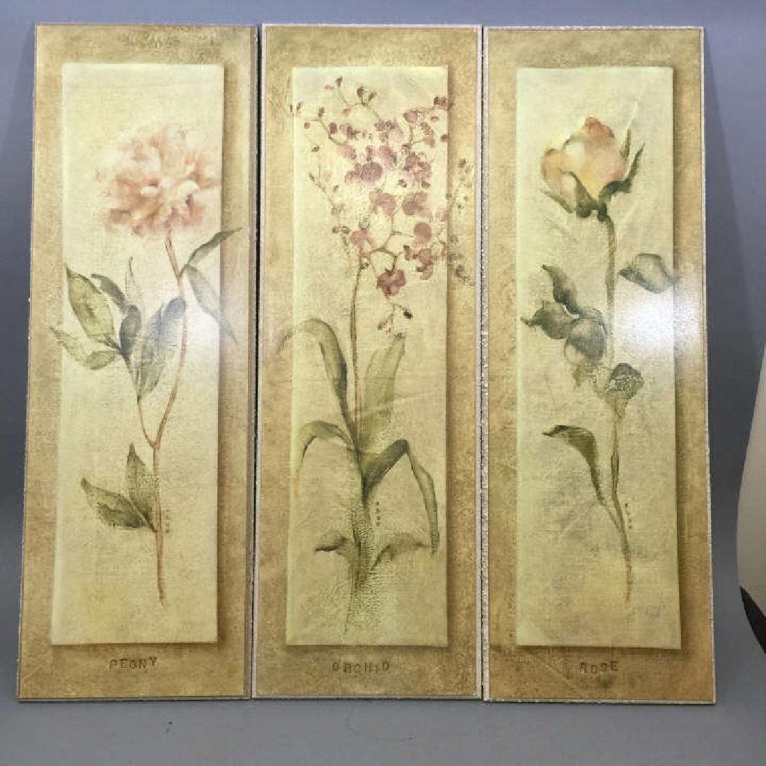 4 Decorative Art Botanical Painted Pieces