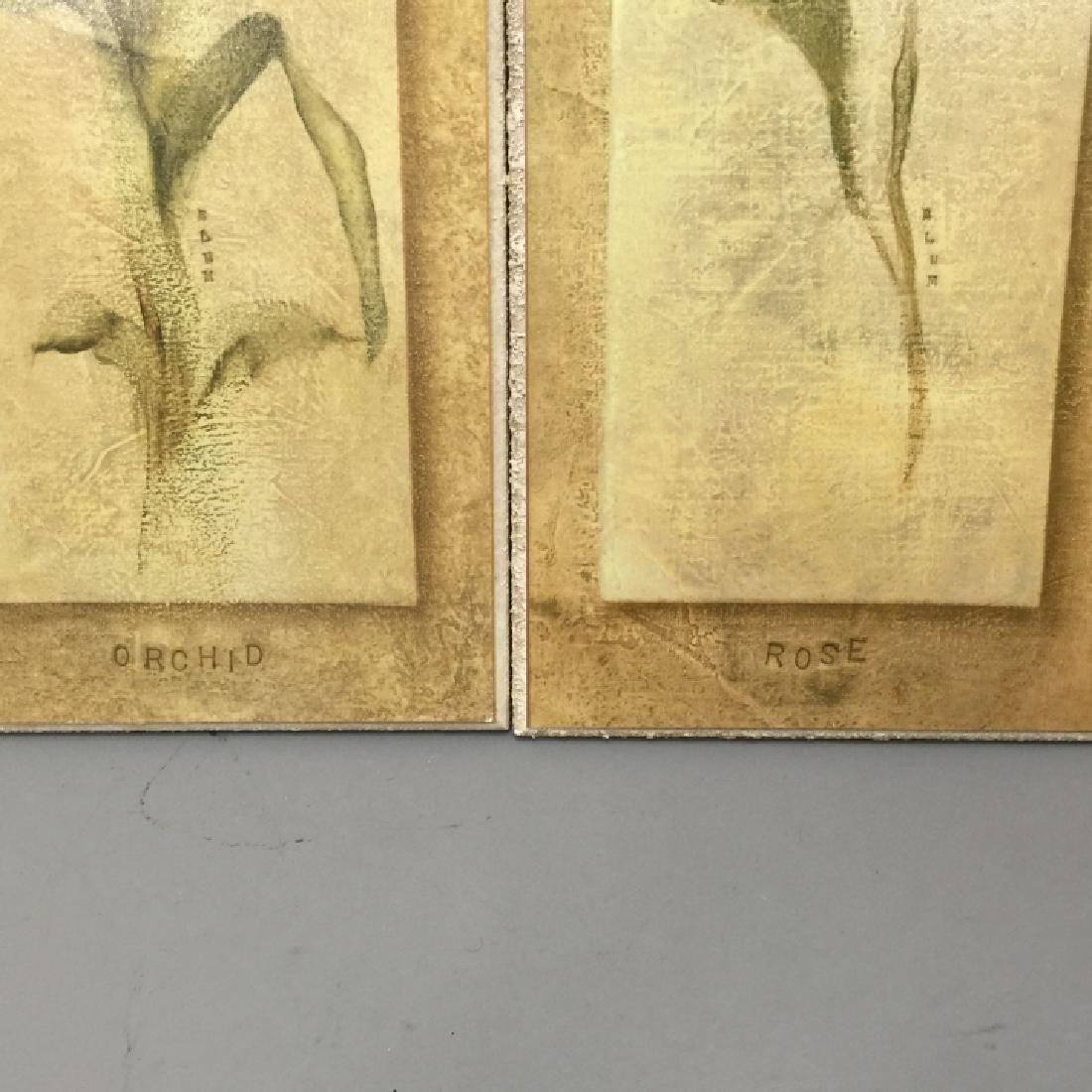 4 Decorative Art Botanical Painted Pieces - 3