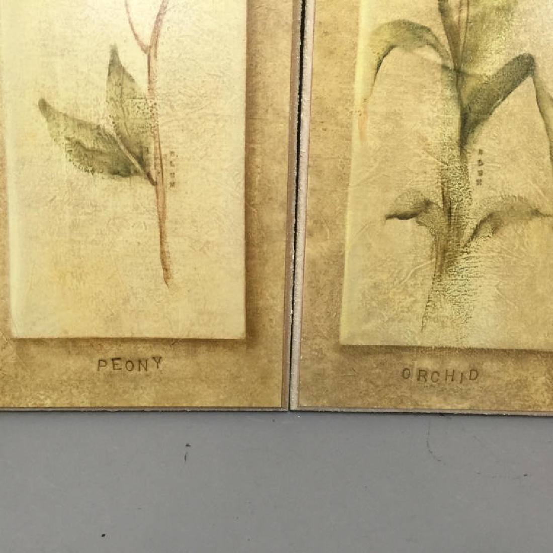 4 Decorative Art Botanical Painted Pieces - 4