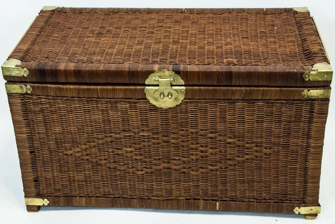 Vintage Asian Style Wicker Chest