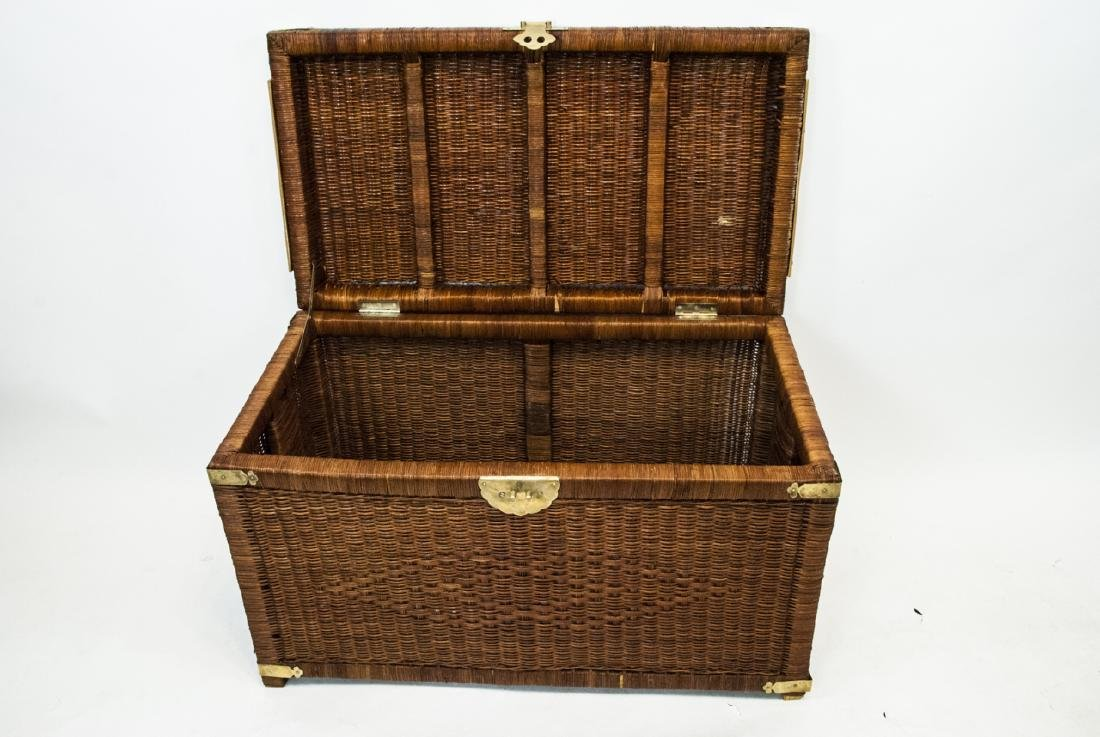 Vintage Asian Style Wicker Chest - 3