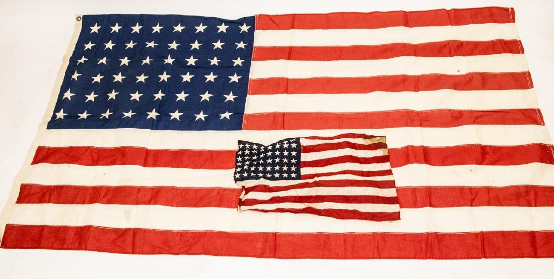 Pair Of Vintage American Flags Large & Small