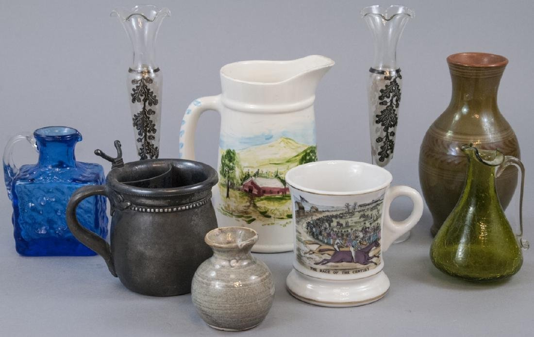 Lot Of Mugs, Pitchers, Vases W/ Silver Overlay