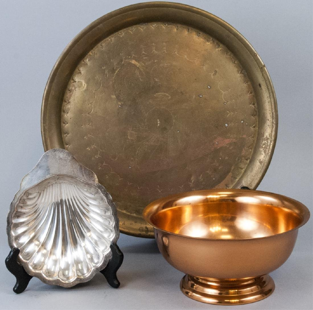 Assorted Lot Of Vintage Metal Trays and Bowls