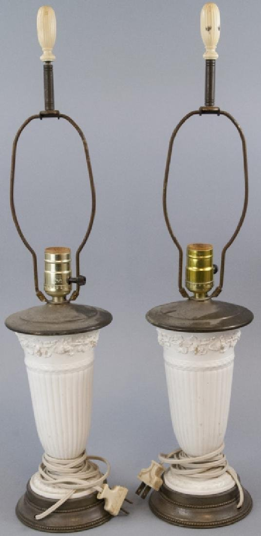 Two Vintage Porcelain Wedgwood Table Lamps