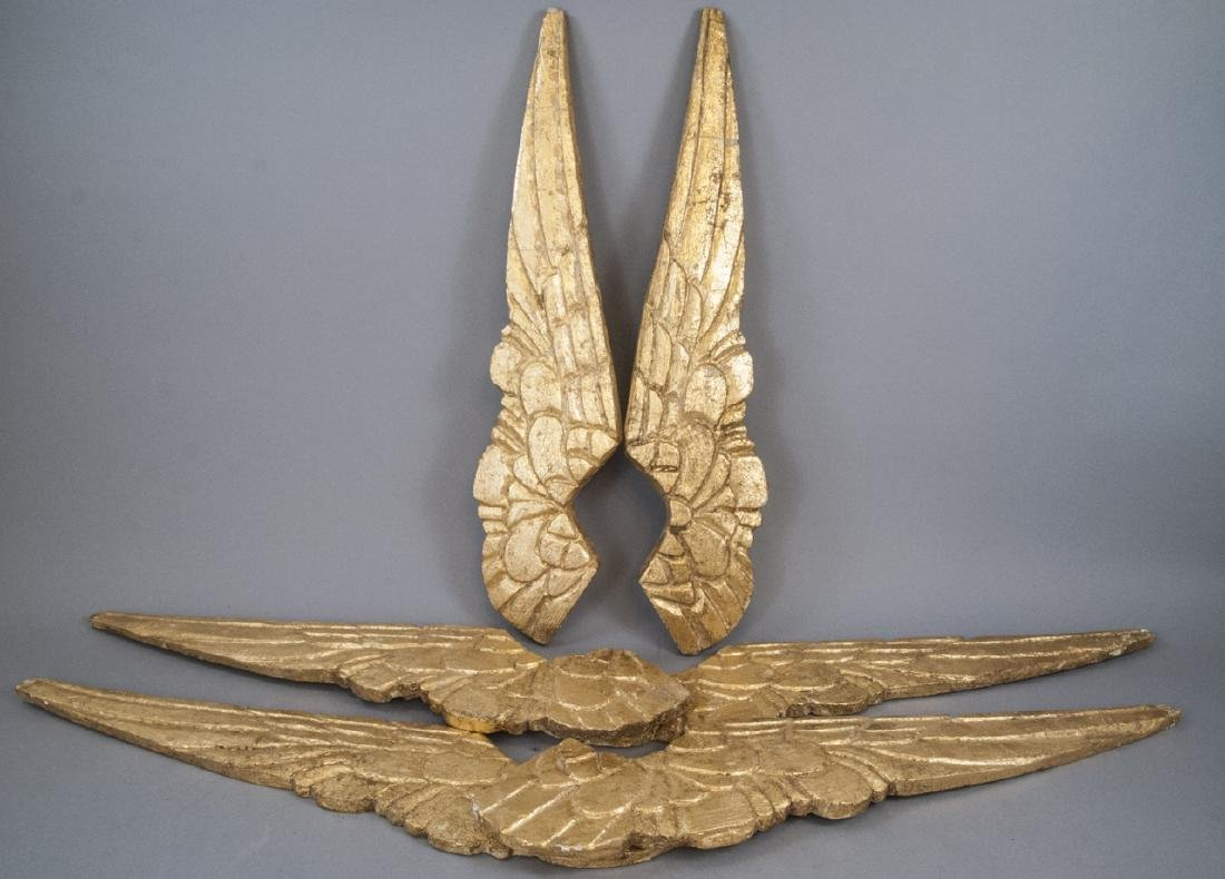 3 Pairs Of Small Wooden Hand Carved Angel Wings