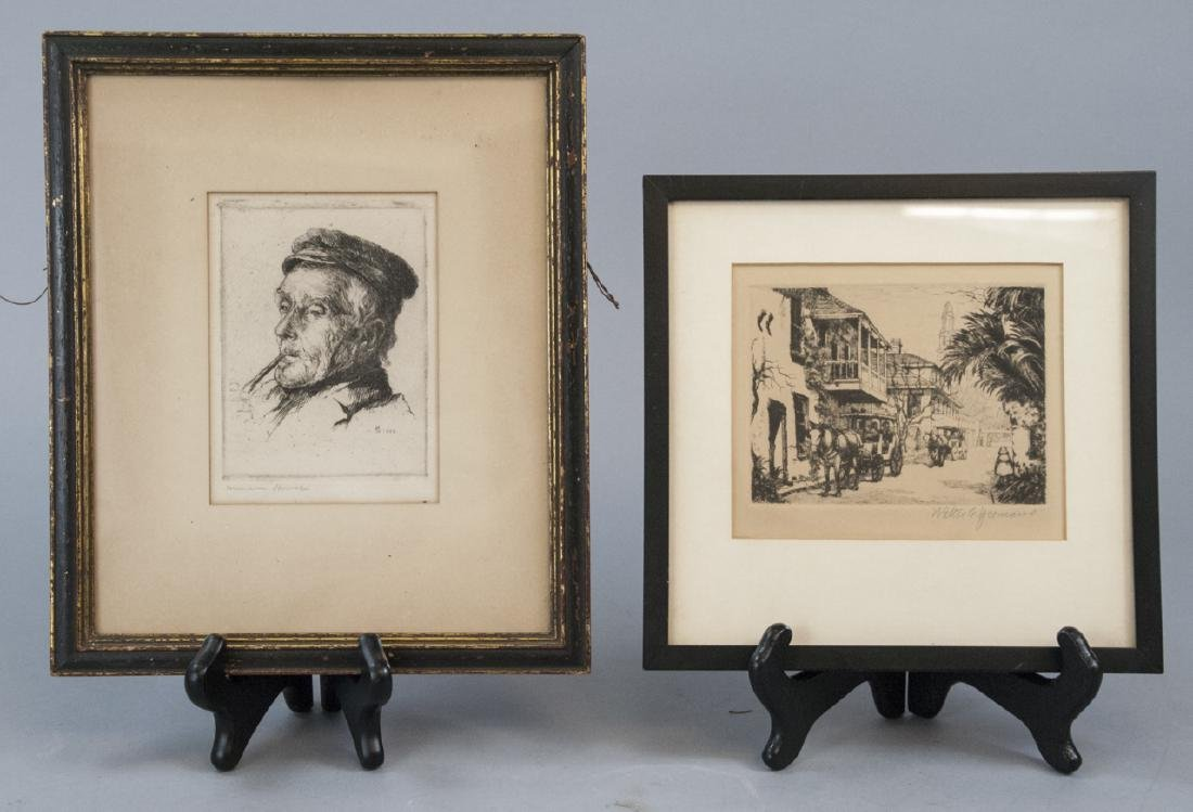 Two Antique Artist Engravings