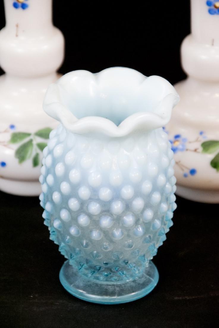 Pair Victorian Opaline Glass Vases & Hobnail Vase - 3