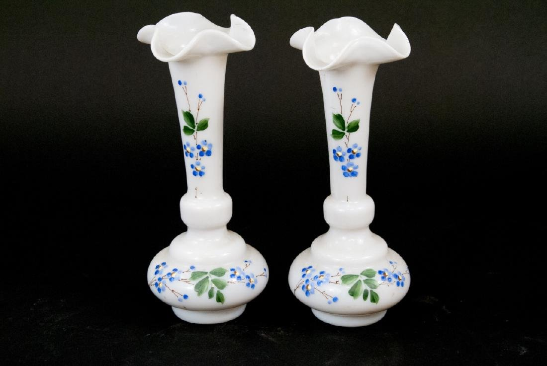 Pair Victorian Opaline Glass Vases & Hobnail Vase - 4