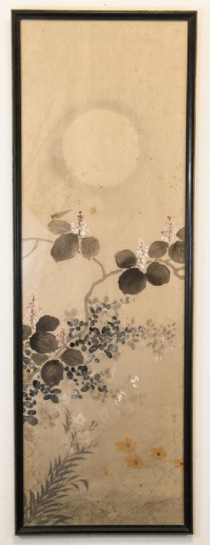 Vintage Asian Mineral Color On Silk Painting
