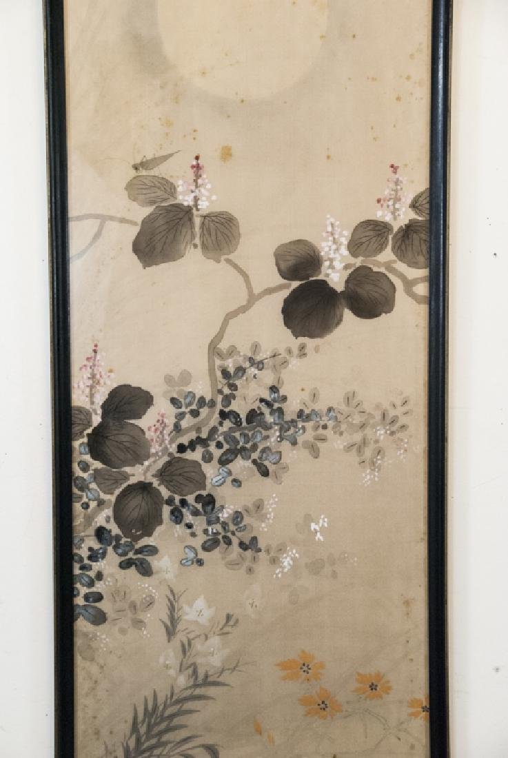 Vintage Asian Mineral Color On Silk Painting - 3