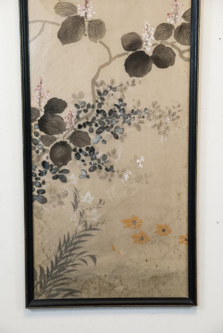 Vintage Asian Mineral Color On Silk Painting - 4