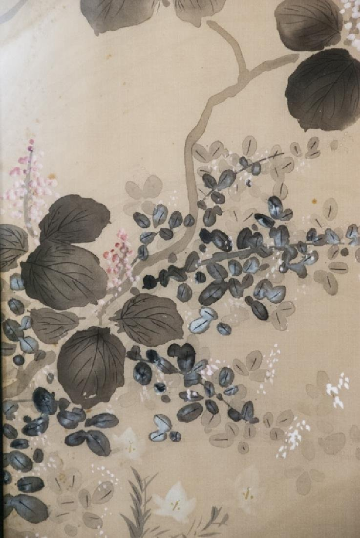 Vintage Asian Mineral Color On Silk Painting - 5