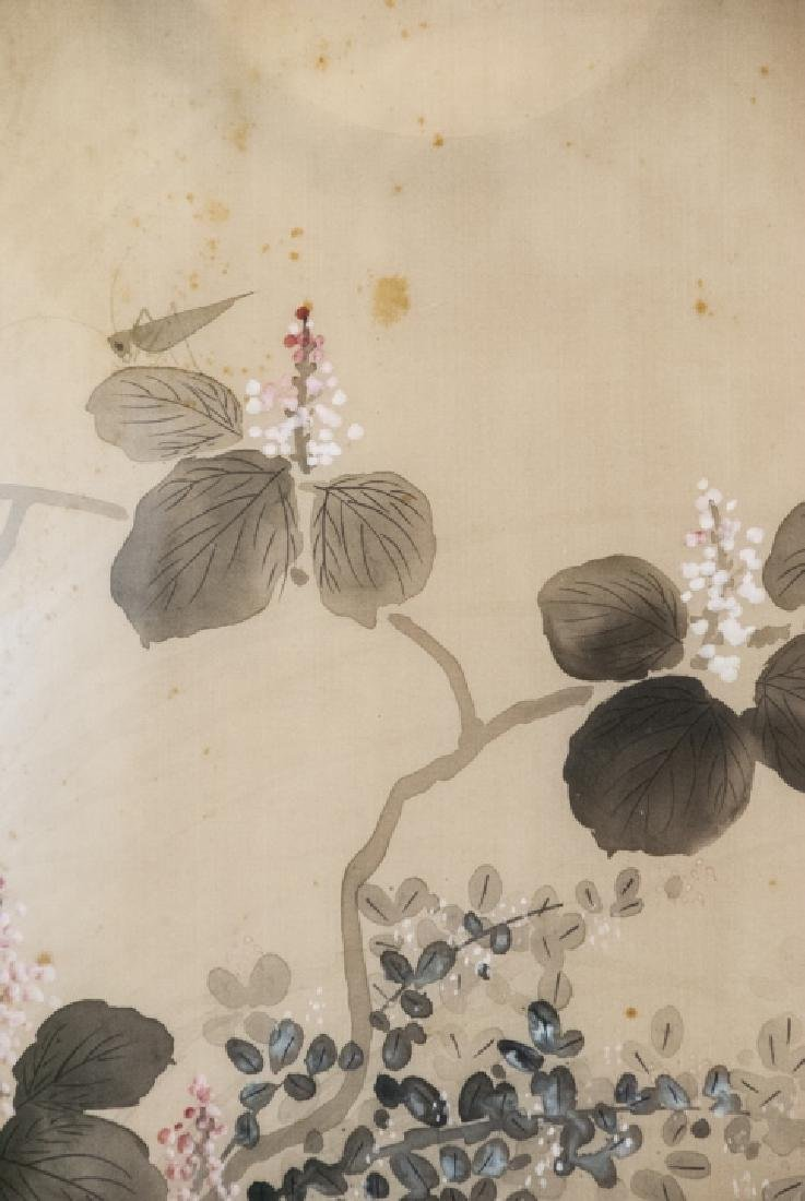 Vintage Asian Mineral Color On Silk Painting - 6