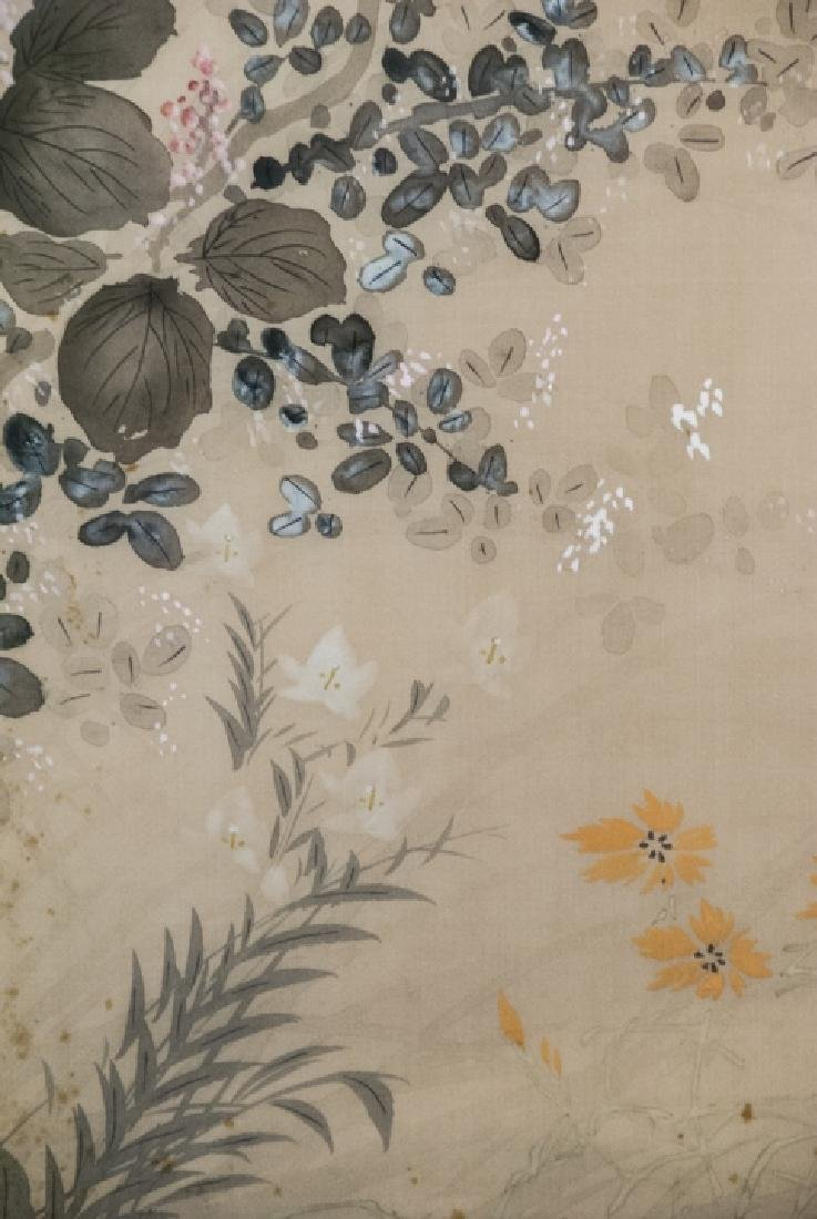 Vintage Asian Mineral Color On Silk Painting - 7