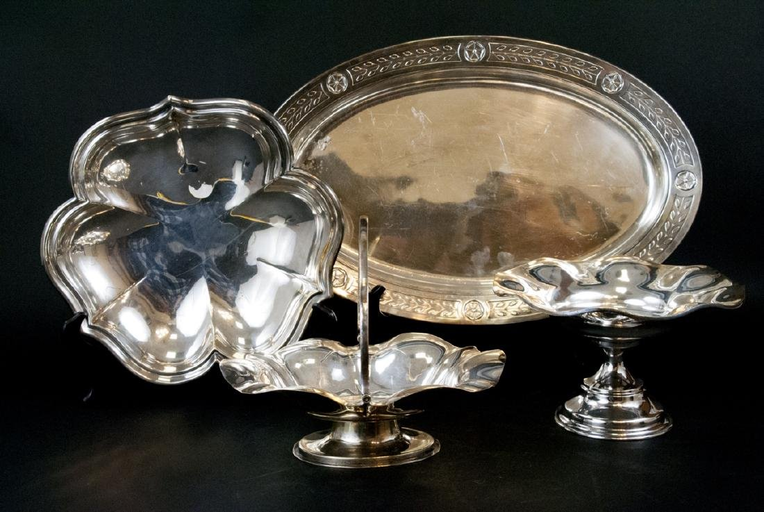 Lot Of  Assorted Vintage Silver Tray and Dishes