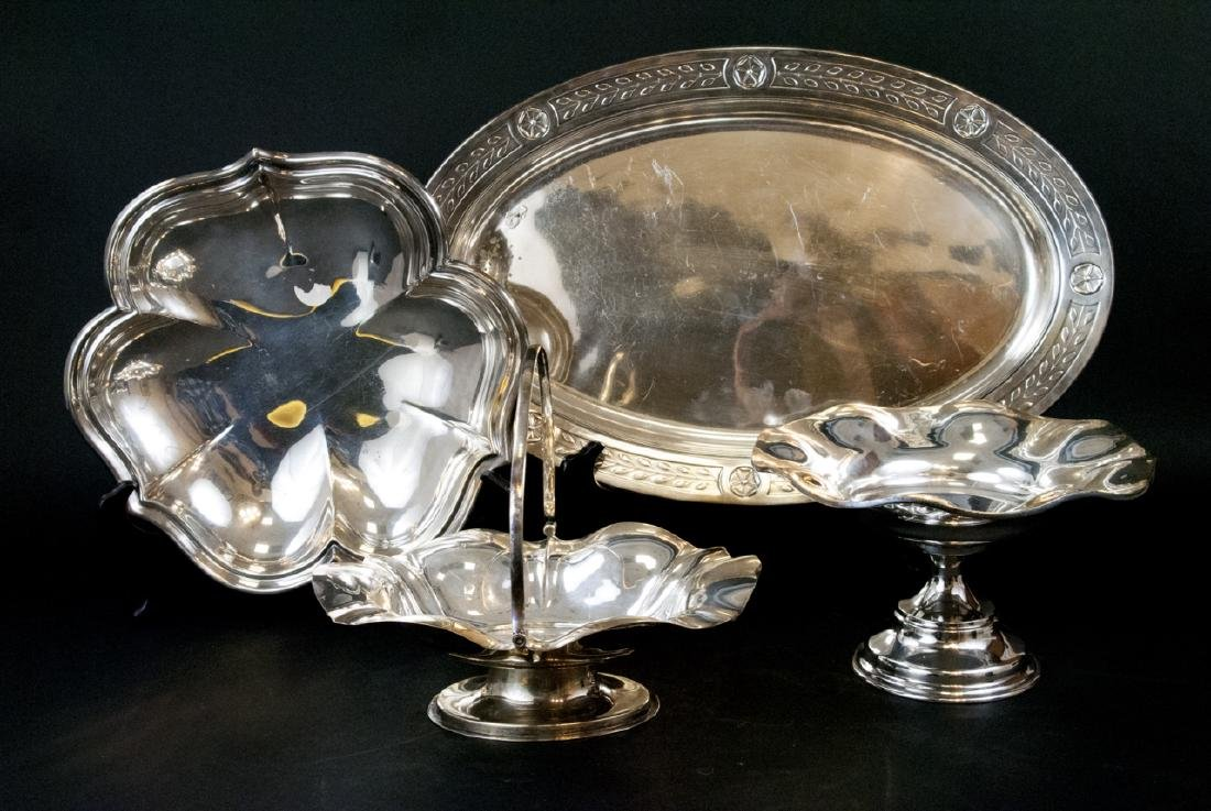 Lot Of  Assorted Vintage Silver Tray and Dishes - 2
