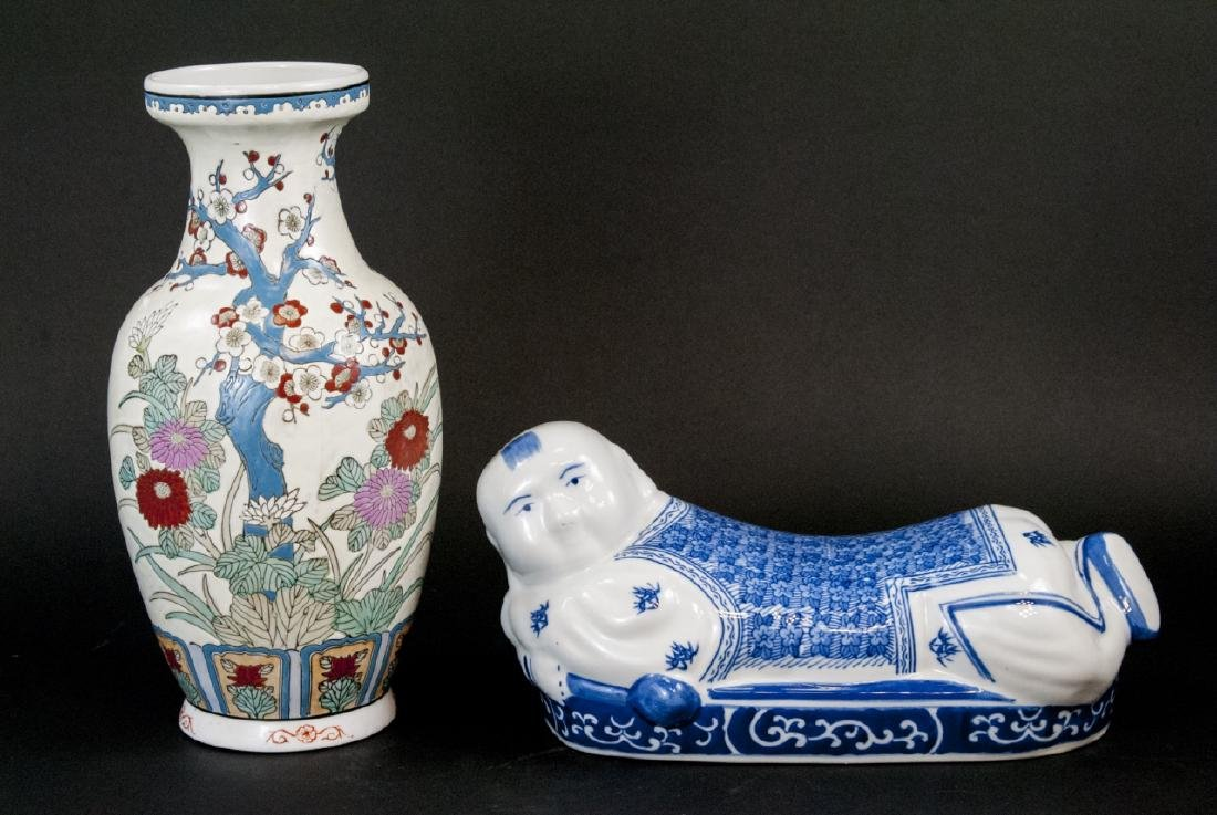 Two Vintage Chinese Hand Painted Porcelain Items