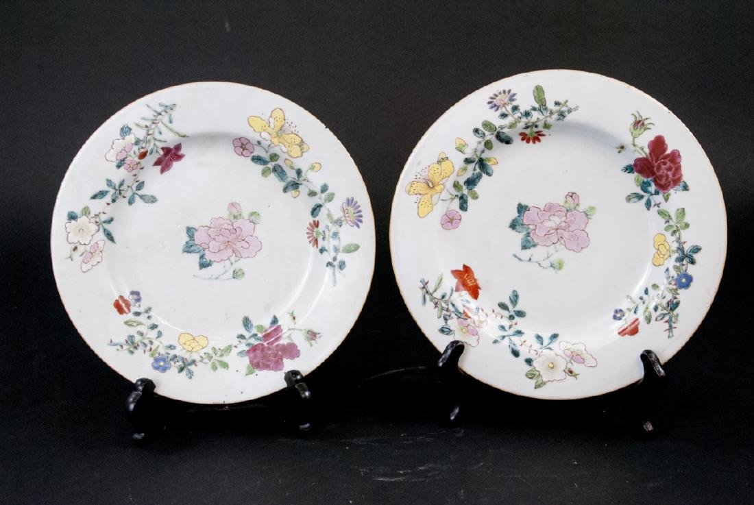 Pair Hand Painted Chinese Porcelain Lotus Plates