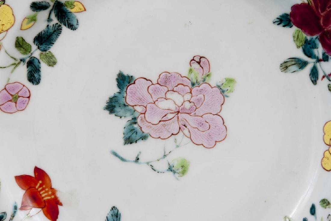 Pair Hand Painted Chinese Porcelain Lotus Plates - 3