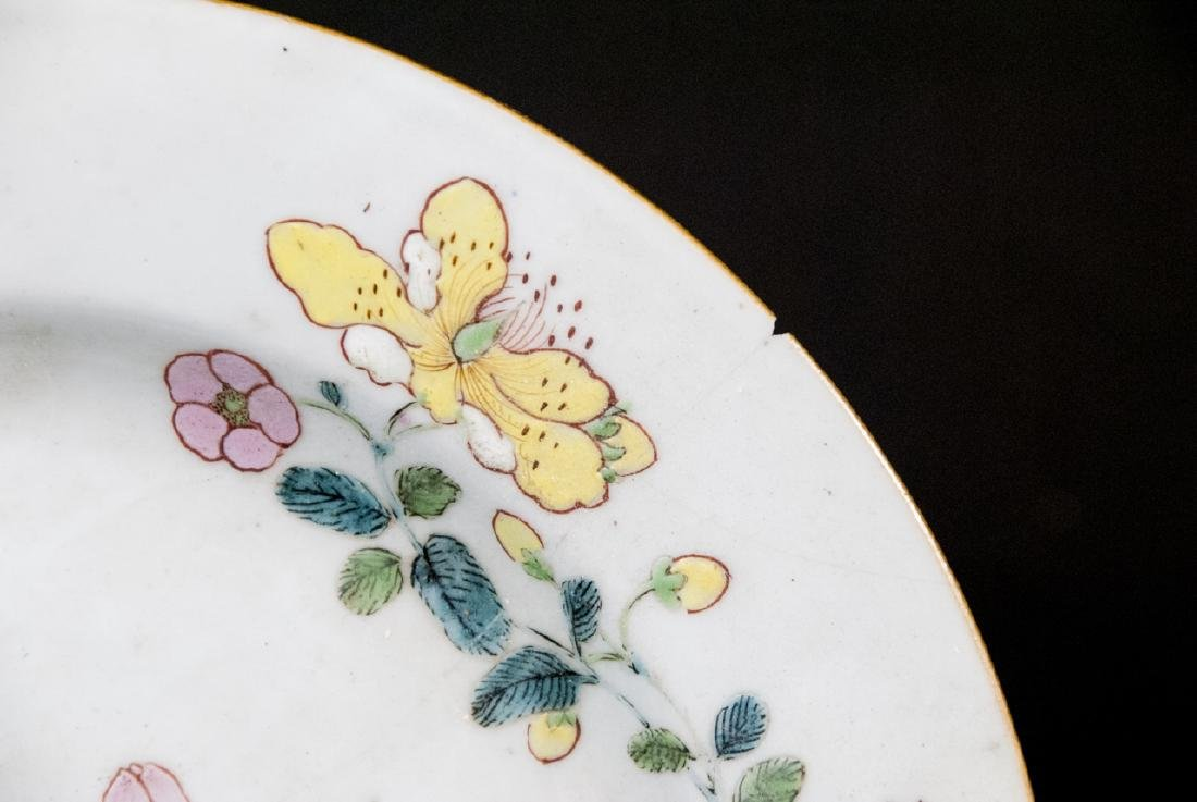 Pair Hand Painted Chinese Porcelain Lotus Plates - 4