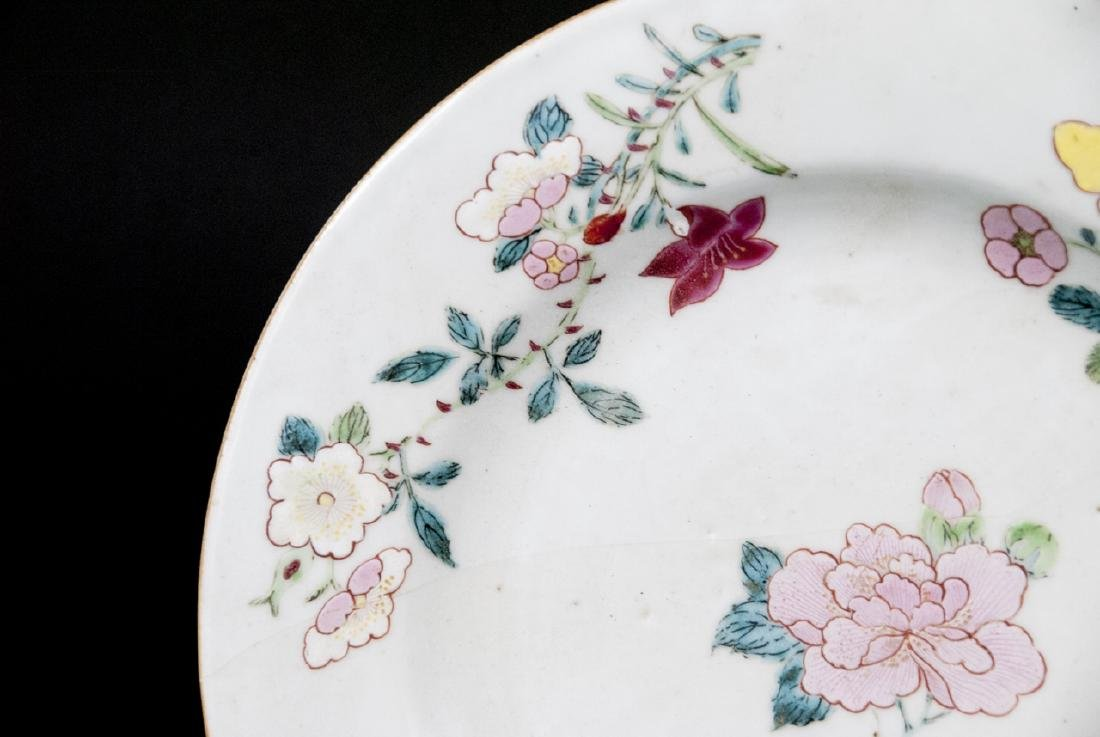 Pair Hand Painted Chinese Porcelain Lotus Plates - 8