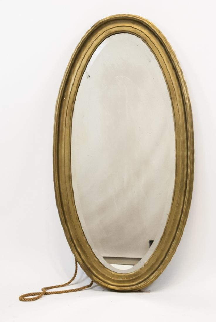 Vintage Oval Mirror With Scalloped Edge