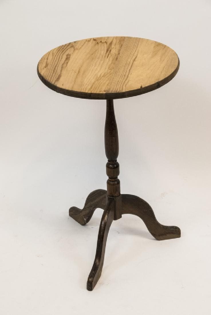 Vintage Small Round  Wooden Side Table With Cover