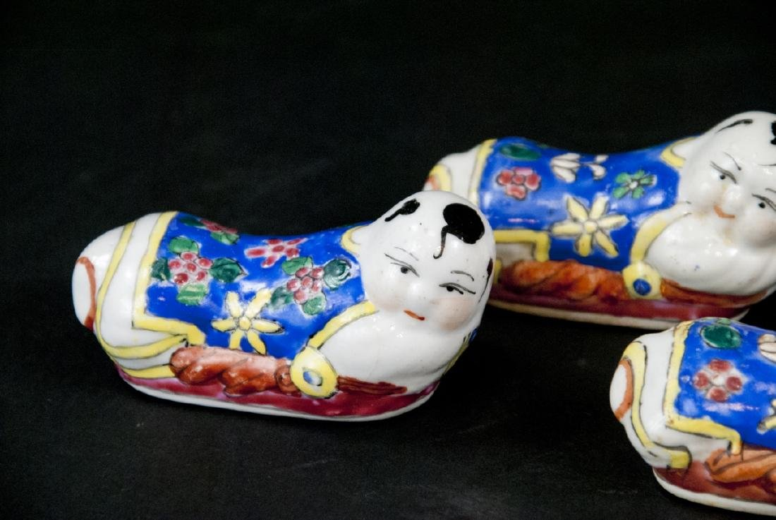 Five Chinese Hand Painted Porcelain Knife Rests - 2