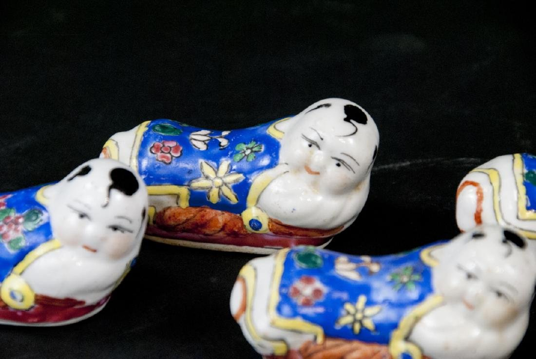 Five Chinese Hand Painted Porcelain Knife Rests - 3
