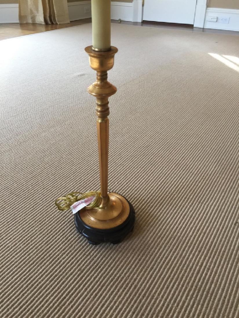 Gilt Ormolu Candlestick Lamp w Carved Chinese Base - 3