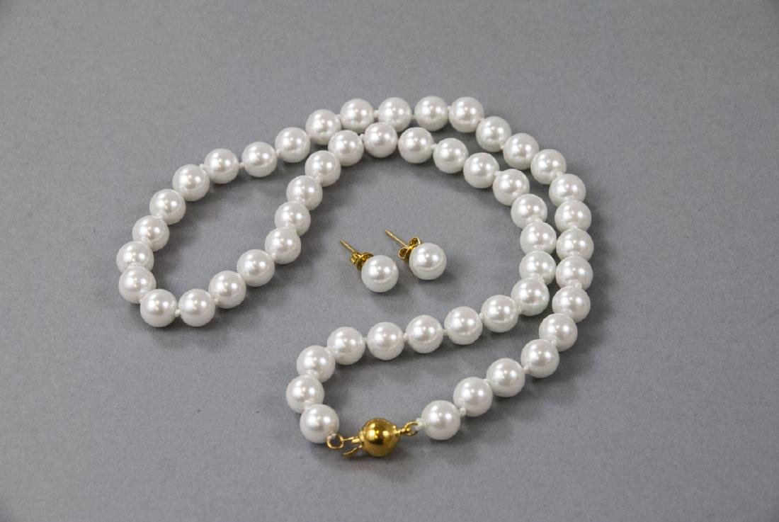Akoya Style Pearl Necklace Strand & Stud Earrings - 3