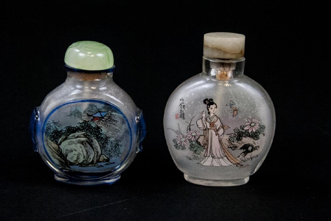 Two Chinese Reverse Painted on Glass Bottles