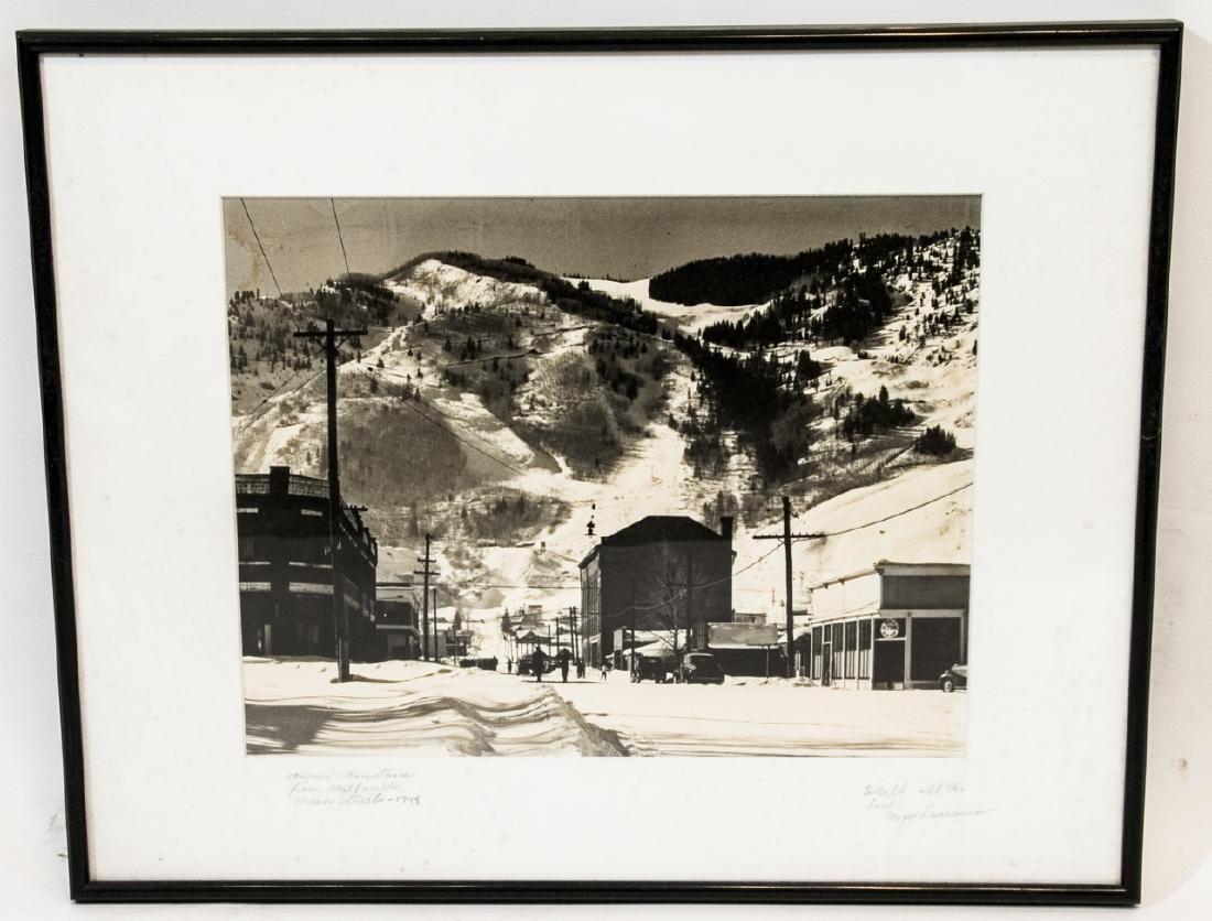 Framed & Signed B/W Photo of Aspen Mountain 1948