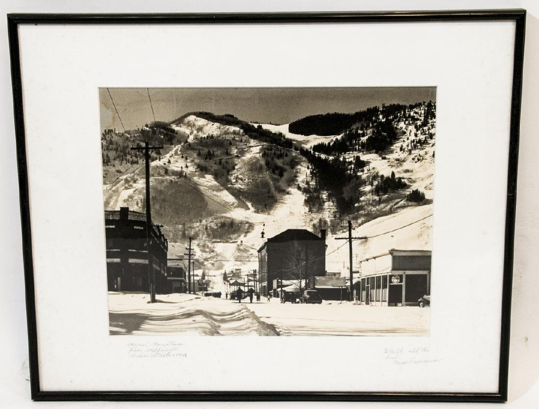 Framed & Signed B/W Photo of Aspen Mountain 1948