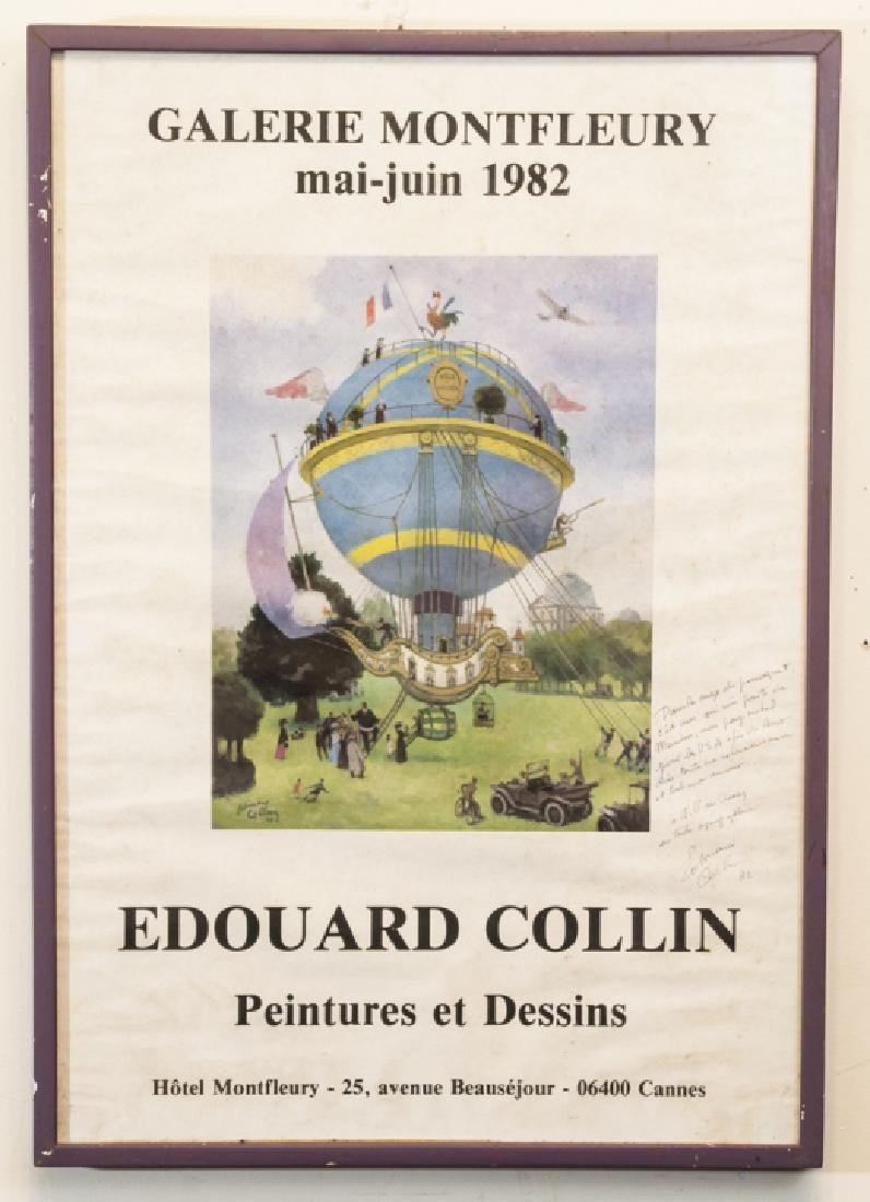 Framed French Poster, Signed by Edouard Collin