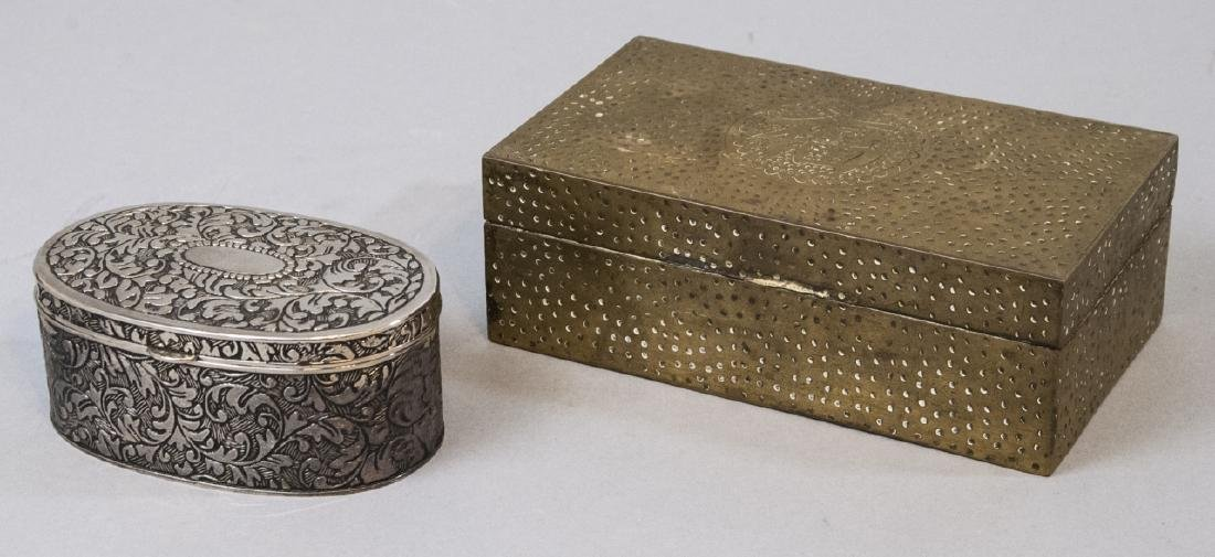 Chinese Chased Brass & Silver Plate Jewelry Boxes