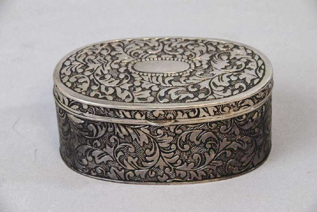Chinese Chased Brass & Silver Plate Jewelry Boxes - 5