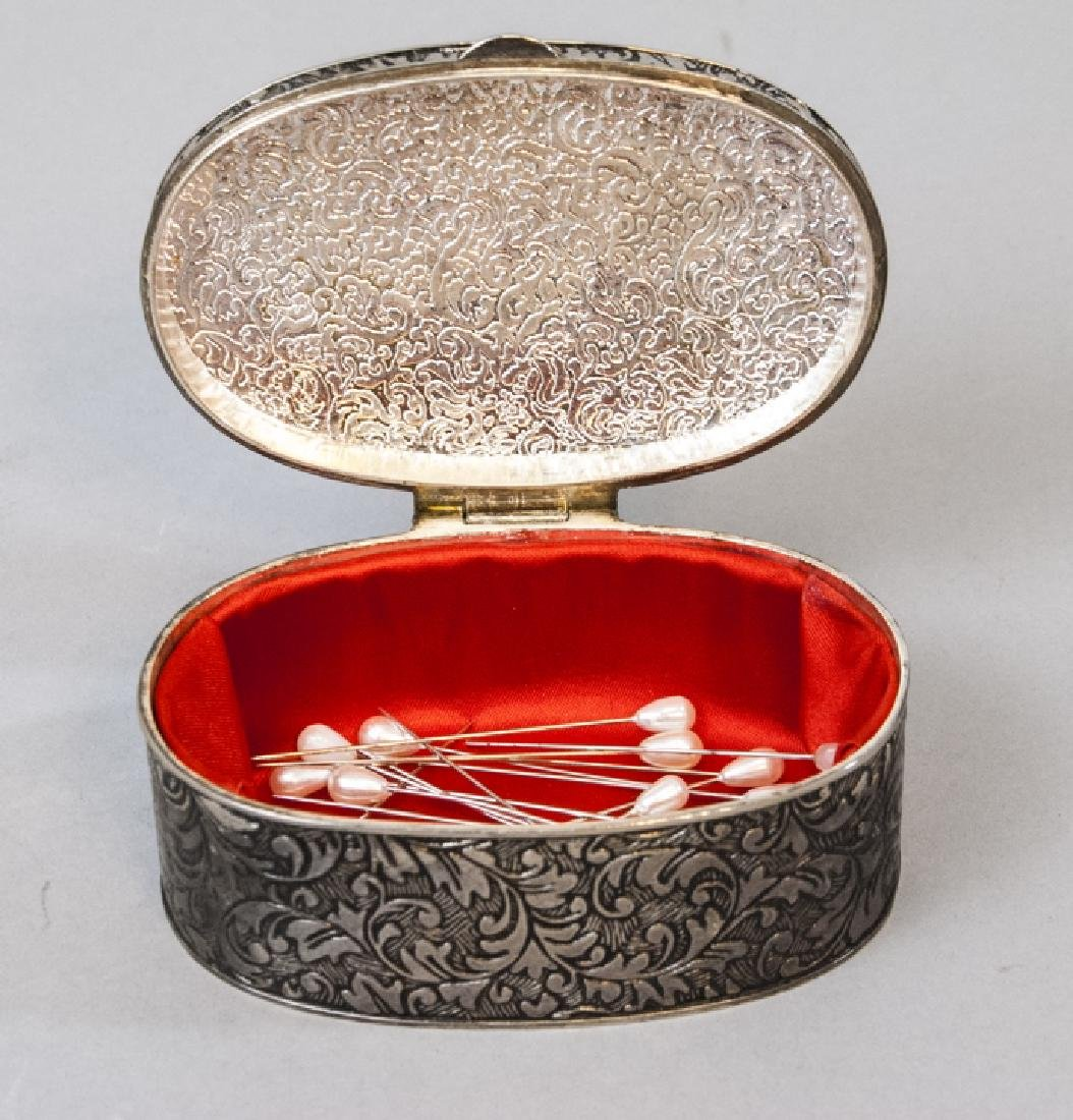 Chinese Chased Brass & Silver Plate Jewelry Boxes - 6