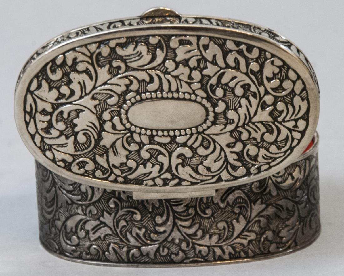 Chinese Chased Brass & Silver Plate Jewelry Boxes - 9